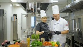 Restaurant chef makes a verification in kitchen. Interacting to head chef in commercial kitchen