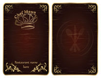 Restaurant chef menu cover or board vector - Gold Royalty Free Stock Photography