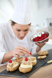 Restaurant chef preparing pastries Stock Photos