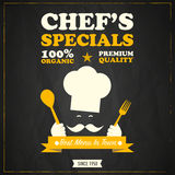 Restaurant chefs specials chalkboard design Stock Photography
