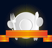Restaurant Choice Badge. Vector illustration of tableware on a black line decorated background with a ribbon Stock Photography