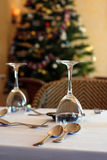 Restaurant on christmas. With christmas three as background royalty free stock image