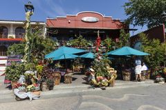 Restaurant with Christmas decorations. Restaurant with green umbrellas and Christmas decorations outside, Ajijic, Jalisco, Mexico Stock Photography