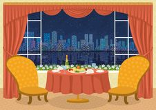 Restaurant with city view Stock Images