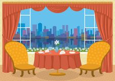 Restaurant with city view Stock Photos