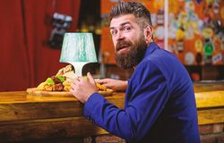 Restaurant client. Hipster formal suit sit at bar counter. Man received meal with fried potato fish sticks meat. Delicious meal. Cheat meal concept. Hipster royalty free stock photography