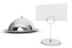 Restaurant cloche with blank calling card Stock Photo