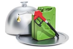 Restaurant cloche with gas pump nozzle with jerrycan, 3D renderi. Ng isolated on white background Stock Image