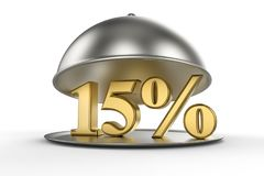 Restaurant cloche with golden 15 percent off Sign. On white background. 3D illustration and rendering image. Restaurant and Hotel price and sale concept Stock Image