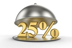 Restaurant cloche with golden 25 percent off Sign. On white background. 3D illustration and rendering image. Restaurant and Hotel price and sale concept Stock Photo