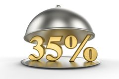 Restaurant cloche with golden 35 percent off Sign. On white background. 3D illustration and rendering image. Restaurant and Hotel price and sale concept Royalty Free Stock Photo