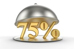 Restaurant cloche with golden 75 percent off Sign. On white background. 3D illustration and rendering image. Restaurant and Hotel price and sale concept vector illustration
