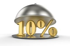 Restaurant cloche with golden 10 percent off Sign. On white background. 3D illustration and rendering image. Restaurant and Hotel price and sale concept Stock Photo