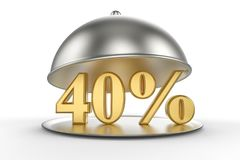Restaurant cloche with golden 40 percent off Sign vector illustration