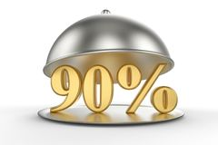 Restaurant cloche with golden 90 percent off Sign. On white background. 3D illustration and rendering image. Restaurant and Hotel price and sale concept Royalty Free Stock Photos
