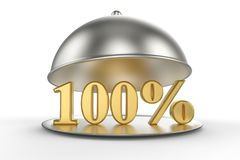 Restaurant cloche with golden 100 percent off Sign. On white background. 3D illustration and rendering image. Restaurant and Hotel price and sale concept Stock Photos
