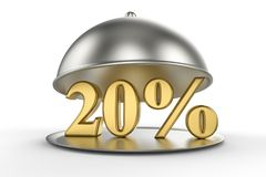 Restaurant cloche with golden 20 percent off Sign. On white background. 3D illustration and rendering image. Restaurant and Hotel price and sale concept Royalty Free Stock Photography