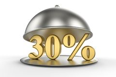 Restaurant cloche with golden 30 percent off Sign. On white background. 3D illustration and rendering image. Restaurant and Hotel price and sale concept Royalty Free Stock Images