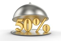 Restaurant cloche with golden 50 percent off Sign. On white background. 3D illustration and rendering image. Restaurant and Hotel price and sale concept Royalty Free Stock Photo