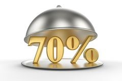 Restaurant cloche with golden 70 percent off Sign. On white background. 3D illustration and rendering image. Restaurant and Hotel price and sale concept Stock Photography