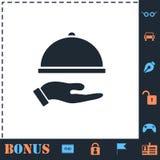 Restaurant cloche in hand icon flat royalty free illustration