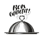 Restaurant cloche for hot dishes. Tray sketch. Lettering for menu design diner, eatery or cafe. Vector illustration Royalty Free Stock Photo