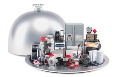 Restaurant cloche with kitchen and household appliances, 3D rend stock illustration