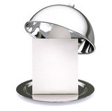 Restaurant cloche. With a menu card inside Royalty Free Stock Photography
