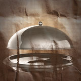 Restaurant cloche painted on paper. Background royalty free illustration