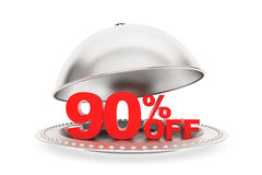Restaurant cloche with 90 percent off Sign Stock Photos