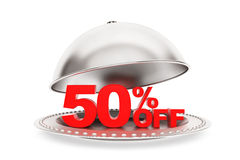 Restaurant cloche with 50 percent off Sign Stock Photos