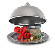 Restaurant cloche with percent sign and money. Royalty Free Stock Photo