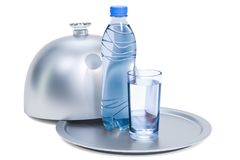 Restaurant cloche with plastic water bottle and glass of water,. 3D rendering isolated on white background Royalty Free Stock Photos