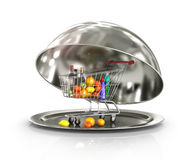 Restaurant cloche with shopping trolley, food and drinks Stock Photos