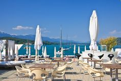 Restaurant on the coast. Resort Portschach am Worthersee. Austria Stock Photo