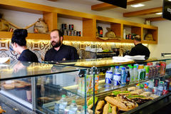 Restaurant and coffee bar in Greece. Restaurant and coffee bar in the city of Chalcis in Greece. This restaurant sells traditional foods and sandwiches with Stock Image