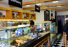 Restaurant and coffee bar in Greece. Restaurant and coffee bar in the city of Chalcis in Greece. This restaurant sells traditional foods and sandwiches with Stock Images