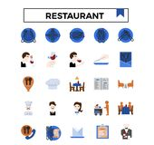 Restaurant concept flat design icon set. vector illustration