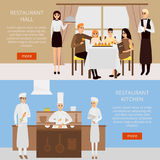 Restaurant concept vector web banner in flat style design. Family having dinner in cafe. Chef cooking in restaurant royalty free illustration