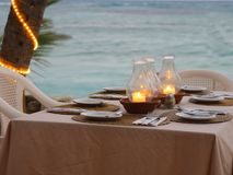 Restaurant confortable de plage Photographie stock