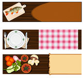 Restaurant or cooking banner set. Illustration vector set of three different cooking or restaurant banners Royalty Free Stock Photography
