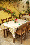 The restaurant in Corfu. Cute little restaurant in old town in Kerkyra, Corfu, Greece Royalty Free Stock Photo