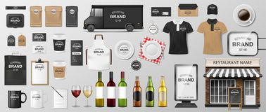 Restaurant Corporate Branding identity template. MockUp design for Coffee, Cafe, Fast food. Realistic set of uniform royalty free stock image