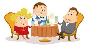 Restaurant, couple near table, isolated Royalty Free Stock Photos