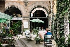 Restaurant courtyard in Copenhagen, Denmark stock photos
