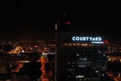 The restaurant of Courtyard in Katowice. stock image