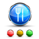 Restaurant Cristal Glossy Button Stock Photo