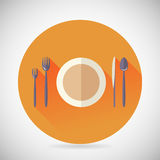 Restaurant Cuisine Meals Symbol Plate Spoon Fork Stock Photo