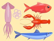 Restaurant délicieux gastronome de fruits de mer de vecteur de poissons plats frais d'illustration faisant cuire le repas gastron illustration libre de droits