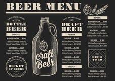 Restaurant de bière de menu, placemat de calibre d'alcool illustration de vecteur
